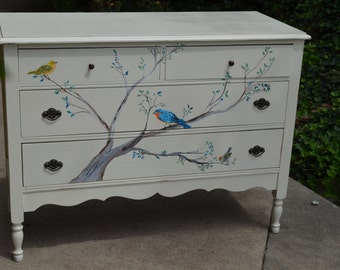 Hand-Painted Songbird Dresser w Tree: Bluebird, Yellow Warbler, Kinglet, White Nursery Changing Table, Antique Wood Furniture, Custom Made