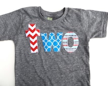 Teal red white birthday shirt two circus birthday theme in turquoise, aqua and red on triblend grey boys 2nd Birthday Shirt 2 year old cake