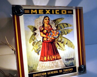 Mexican Night Light Travel Poster Industrial Chic