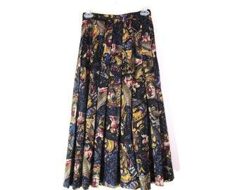 Bohemian printed  vintage long skirt