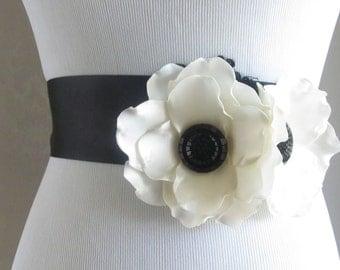 Black Bridal Sash /  Flower Sash / Ribbon Sash /  Anemone Flower Sash