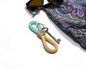 Rope keychain in turquoise and beige, unisex, fathers day