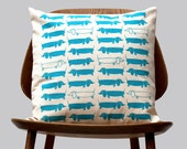 New Scandinavian Retro 1970 turquoise blue sausage dog Cushion Cover by Gunna Ydri