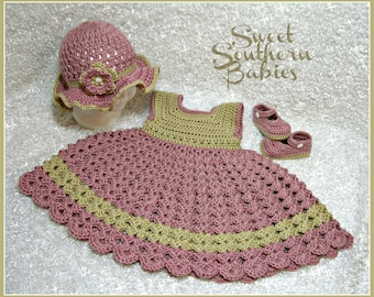 Baby and Toddler Girls Crochet Rose Dress - Tea Party Hat - Mary Jane Shoes -Newborn to 24 Months
