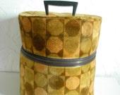 Vintage Hat Box Retro Round Case Wig box Bold Plush Geometrical Shapes...PRICE REDUCED