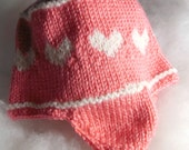 Pay It Forward Baby Pink with White Hearts Ear flap Bomber Hat made by KnittingMemere PIF