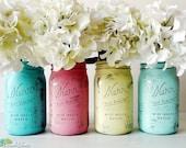 Beach Wedding Decor Centerpiece Painted Mason Jars Vase Pink Turquoise Aqua Yellow