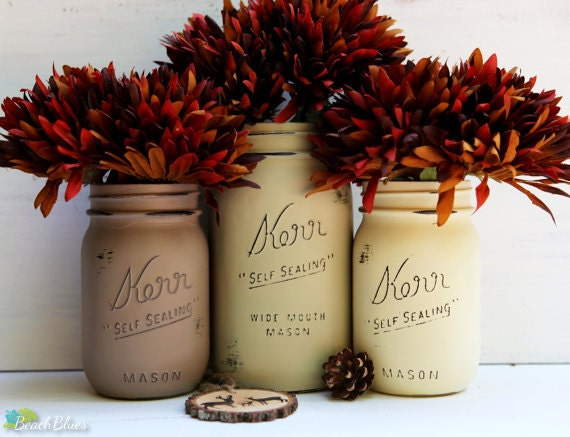 Fall decor painted mason jars home centerpiece by