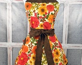 Fall, Autumn, Thanksgiving floral mums and leaves retro womens full apron handmade sweetheart neckline flirty one size fits most