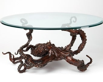 Bronze sculpture octopus coffee table by Kirk McGuire