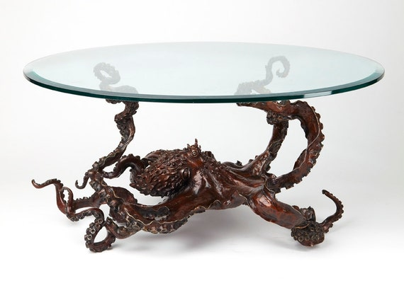 Bronze sculpture octopus coffee table
