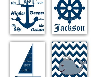 Nautical SET 4 Art Prints,Baby Boy Nursery, Nautical Kids Wall Art, Custom Name,Nursery Wall Art, Nautical Quotes,Anchor, Wheel, Boat, Whale
