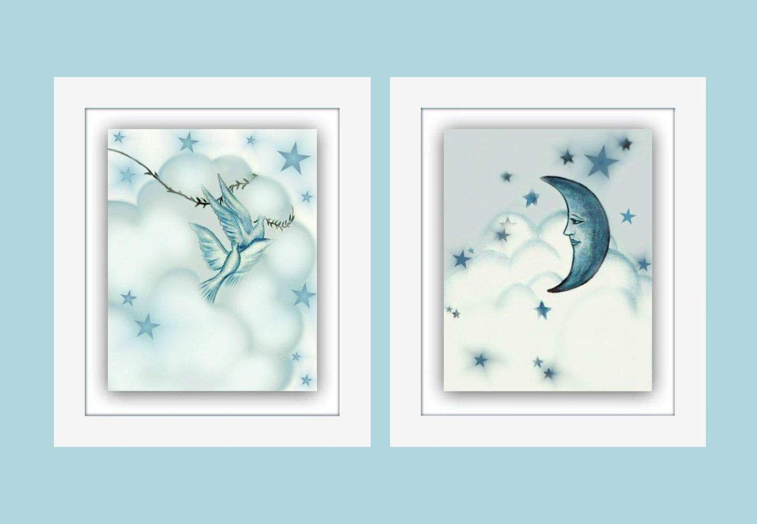 Moon And Stars Nursery Art Baby Boy Nursery Boys By Handpainting