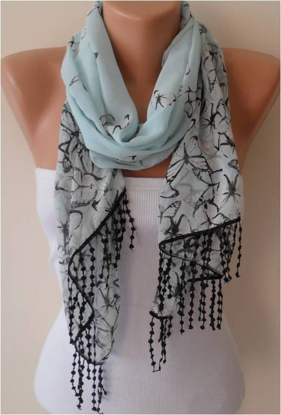 Light Blue Chiffon Scarf with Lace Edge - Gift