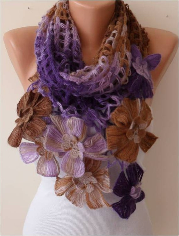 Purple and Brown Wool Handknit Scarf - Autumn Wİnter Scarf - Gift