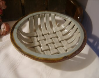 Pottery Round Weave Bread Basket Coil Stoneware Gray & Brown Tones
