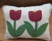 Wool Felt Pillow Embroidered with Tulips, Throw Pillow, Decorative Pillow, Handmade Pillow, Spring Decor, Applique Pillow, OFG team, FAAP