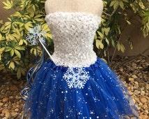 Frozen Blue Tutu Dress, Elsa Frozen Tutu, White Tutu Top, Frozen  Party Favors, Frozen Birthday  Favors, Blue Fairy Dress