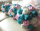 Fabric Bouquet, Shabby Chic bouquet, Satin Rose Bouquet- Ivory, Pink & Teal Flower accented with rhinestone (Medium, 7 inch)