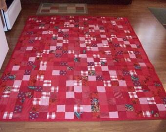 New handmade red patchwork quilt  79x 65