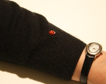 Ladybug pin, red ceramic tie tack, accessory pin, handmade pottery pin