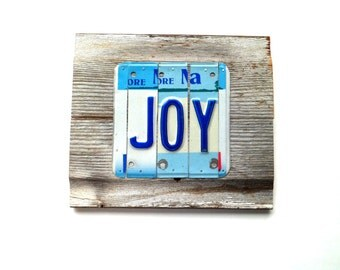 Joy Sign - License Plate Sign - Blue and White Sign - Minnesota Sign - Rustic Reclaimed Wood Sign - Reclaimed Metal Sign, Barn Wood Joy Sign