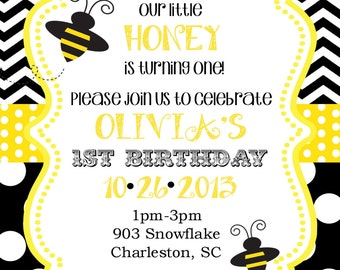 Bumble Bee Birthday Party  or baby shower Invitation Digital or printable file