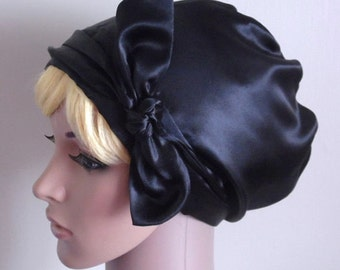 Black Satin Women's Head Scarf , Natural Curly Hair Scarf, Elegant Tichel, Vintage Style Headscarf, Hijab