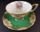 Very Rare Collectible English Crown Staffordshire Bone China Teacup and Saucer Circa 1940's