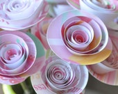 15 Baby Girl Paper Flowers on Stems- Bouquet of Paper Flowers-  Home Decor