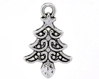 10 Pieces Antique Silver Christmas Tree Charms