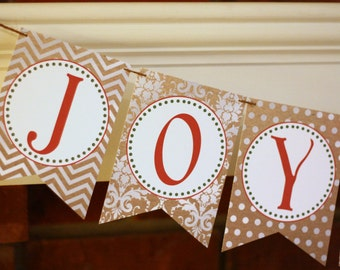Joy to the World Printable Banner, DIY Christmas Banner, Printable Holiday Banner