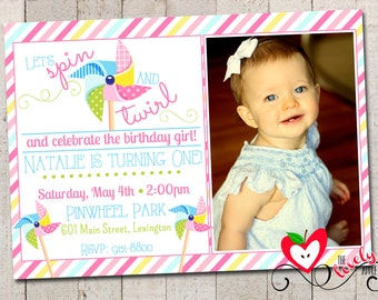 Pinwheel Birthday Invitation, Printable Pinwheel Party Invite