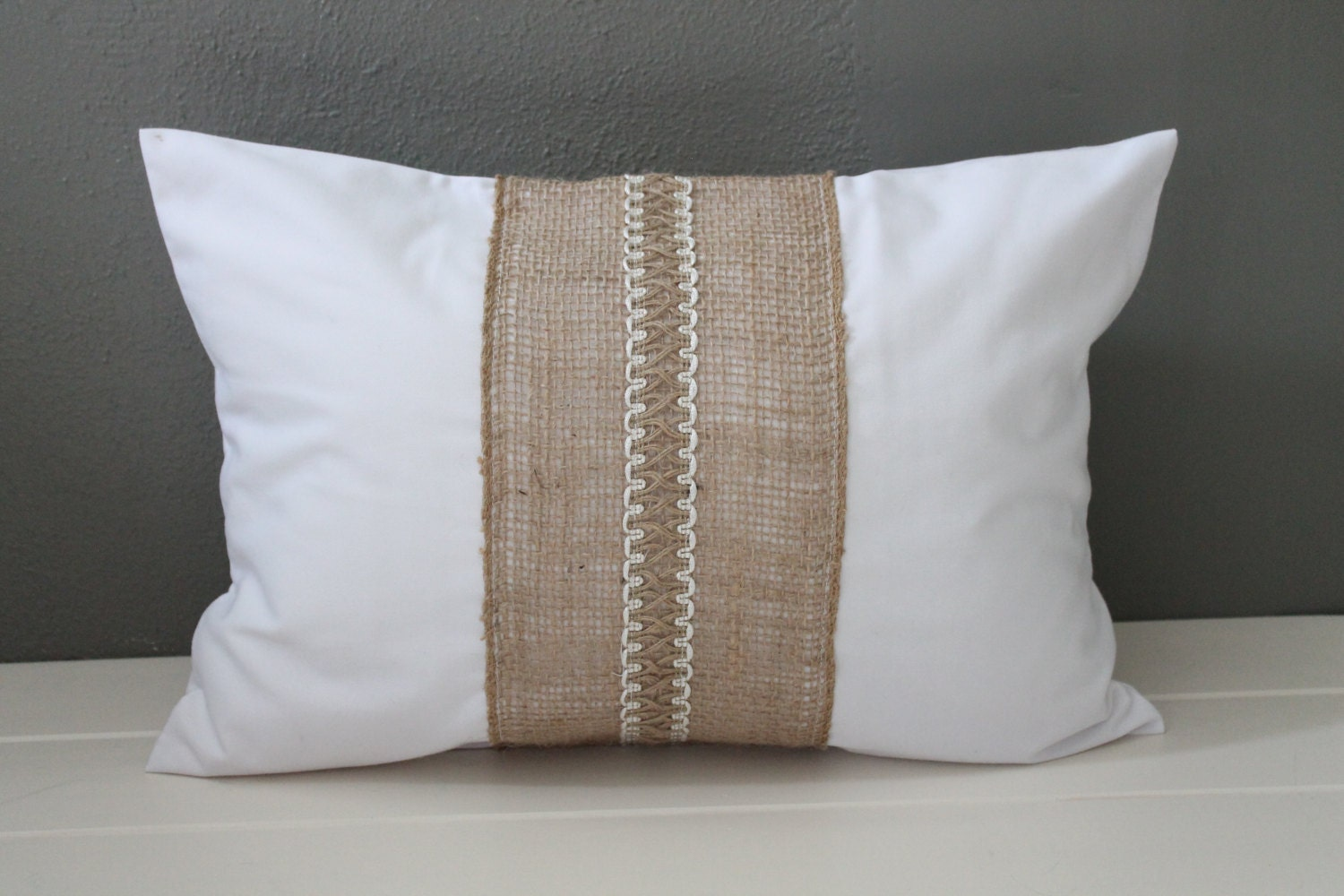 Modern Rustic Pillow: White Cotton and Jute by HabitatHandcrafted