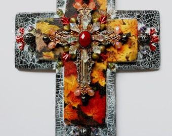 CROSS crosses religious gifts Fall leaves one of a kind Hand Made Mixed Media Religious Art Christian Wall Decor Crosses