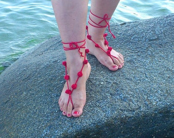Red Crochet Barefoot Sandals,Foot jewelry,Wedding,Victorian Lace,Sexy,Gotic,Hippie,Gypsy,Yoga,Anklet,Bellydance,Beach Pool,Steampunk