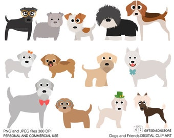 Dogs and Friends clip art part 5 for Personal and Commercial use - INSTANT DOWNLOAD