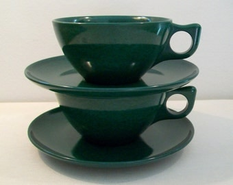Atomic Retro Melmac Cups and Saucers Mid Century Modern Picnic