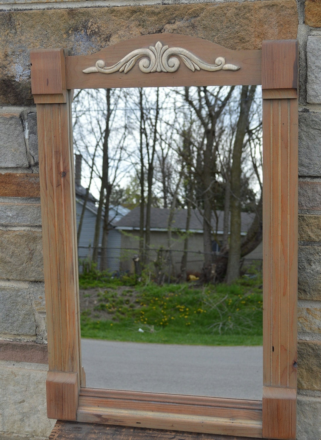 Handcrafted weatered gray ornate mirror 20 x 30 for Mirror 20 x 30
