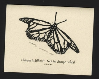 Card. Wildlife. Butterly block print by Jesse Larsen on quality blank card with Ed Allen quote. Free US shipping. Timeless, smart, soulful