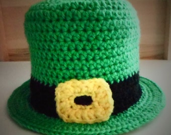 Crochet (Infant-Adult) Leprechaun Hat, St. Patrick's Day Irish Hat, St. Patty's Day Baby Childrens Photo Prop - Various Sizes