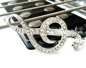 Note Connector Silver Treble Clef Connector Musical Note Charm Rhinestone Connector, RC201