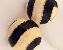 Vintage enamel black and creme post earrings zebra stripes classic