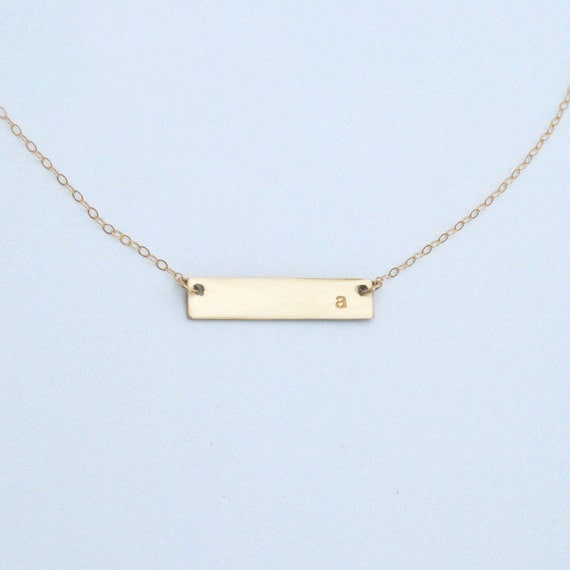 gold bar name plate or initial personalized necklace