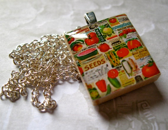 Garden Seed Packets Scrabble Tile Pendant Necklace (without chain)