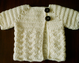 Crocheted Baby Girl's Sweater Cream Ivory Baby Sweater Baby Sweater