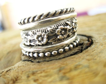 Sterling Flower Stacker Ring (set)
