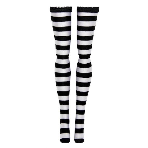 Monster High Doll Stockings - Black and White Stripe - Doll clothes - All Sizes
