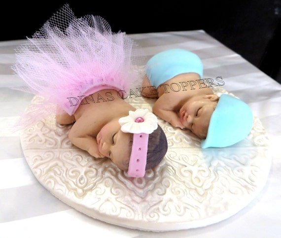 Twin Baby Shower Cake Toppers: Items Similar To Twins Tutu Girl Boy Ballerina Cake Topper