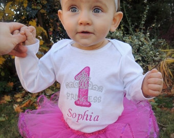 Personalized Princess Baby Girl's First Birthday Tiara Bodysuit Tutu Set 1st (2nd also available)